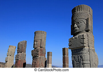 Toltec warriors columns topping the pyramid of Quetzalcoatl...