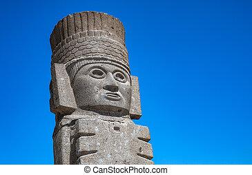 Toltec Warriors or Atlantes columns at Pyramid of Quetzalcoatl in Tula, Mexico