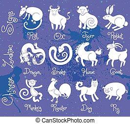tolv, alla, Kinesisk, ikonen, djuren, illustrationer, zodiaken, eller