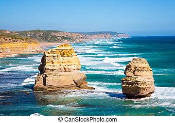 tolv, ivrig, australien, väg, apostlar, ocean, viktoria