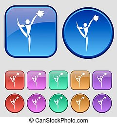 tolv, sätta, årgång, skylt., knäppas, vektor, hejarklacksanförare, ikon, din, design.