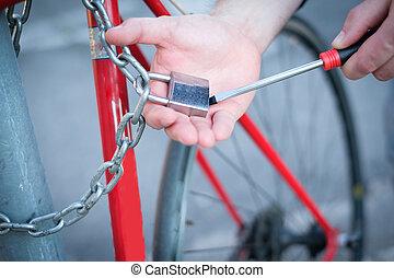 tolvaj, lopás, egy, bicikli, a városban, utca