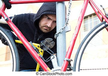 tolvaj, lopás, egy, parkolt, bicikli, alatt, város utca
