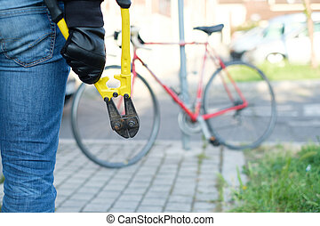 tolvaj, lopás, parkolt, bicikli, a városban, utca