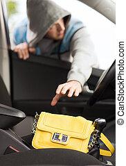tolvaj, lopás, táska, alapján, a, autó