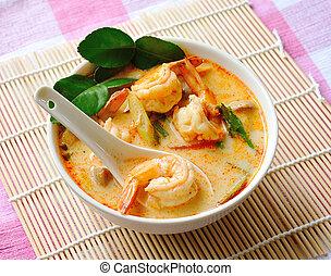 tom, ñame, kung, sopa, (thai, cuisine)