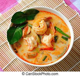 tom, ñame, kung, (thai, cuisine)