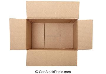 tom, öppna, kartong kasse