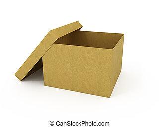 tom, öppnat, kartong kasse