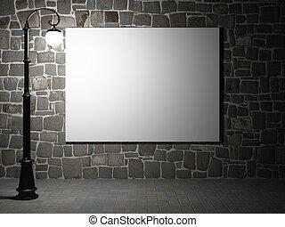 tom, affischtavla, på, a, tegelsten vägg, om natten