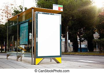 tom, affischtavla, på, den, buss, stop., horisontal