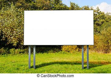 tom, affischtavla, stående, in, a, fält