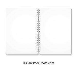 tom, anteckningsbok, realistisk, öppnat, spiral, pages.
