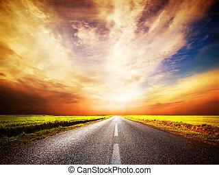 tom, asfalt, road., solnedgångsky