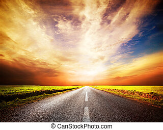 tom, asfalt, road., solnedgang himmel
