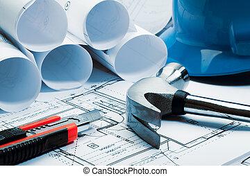 tom azul, arquitetura, desenhos técnicos