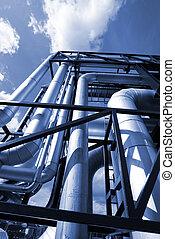 tom azul, industrial, oleodutos, pipe-bridge