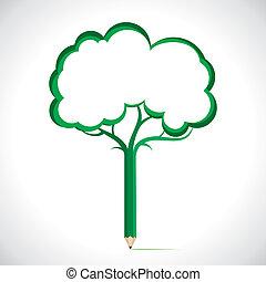 tom, blyertspenna, träd, till skriv, din, mes