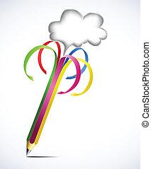 tom, blyertspenna, vektor, färgrik, bubbles.