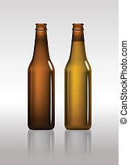 tom, brun, flaskor, fyllda, öl