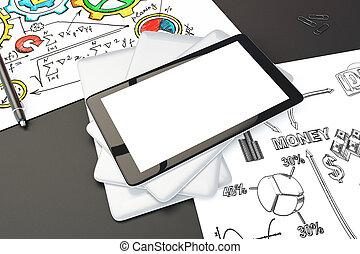 tom, digital tablet, avskärma, på, svart, bord, med, brainstorming, planerna, på, den, papper, driva med, uppe, 3, render