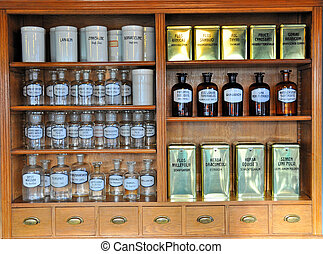 tom, doft, flaskor, in, gammal, apotek