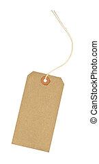 tom, etikett, identifiering, papp, bagage
