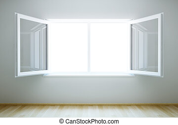 tom, färsk, rum, med, ett fönster där du öppnar