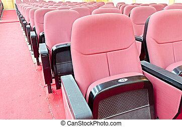 tom, film teater, med, röd, sittplatser