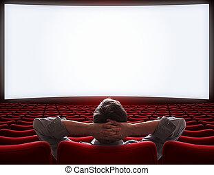tom, film teater, sal, med, ensam, storgubbe, bemanna sitta, 3, illustration