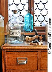 tom, flasker, ind, gamle, apotek