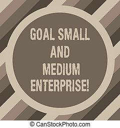 tom, foto, enterprise., crescimento, startups, borda, meta, dois, escrita, nota, texto, novo, sme, vazio, médio, negócio, mostrando, space., pequeno, círculo, forma, showcasing, redondo