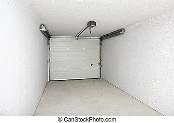 tom, garage, eller, lager