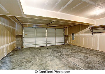 tom, garage, in, nymodig, flerfamiljshus