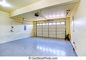 tom, garage, in, nytt hus