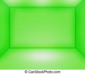 tom, grön, rum, bakgrund