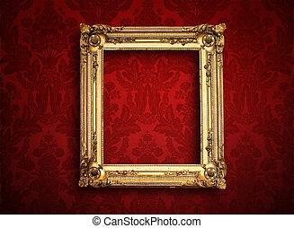 tom, gyllene, målning, ram, på, årgång, tapet