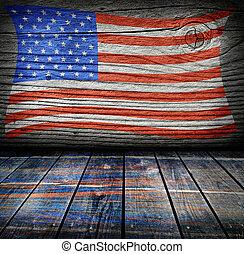 tom, inre, rum, med, amerikan flagga, färger, klar, för,...