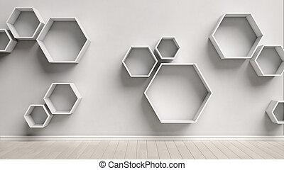 Ultra Interior, sekskant, tom, hylder. Rend, hylder, mur, interior FN04
