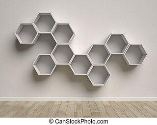 Fantastisk Interior, sekskant, tom, hylder. Rend, hylder, mur, interior CY43