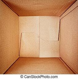 tom, kartong kasse, insida, synhåll