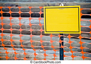 tom, konstruktion, gul, staket, underteckna