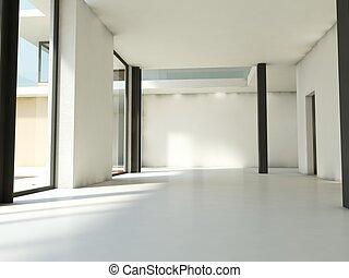 tom, lägenhet, med, vit, väggar