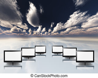 tom, lägenhet, paneler, in, vit, med, sky
