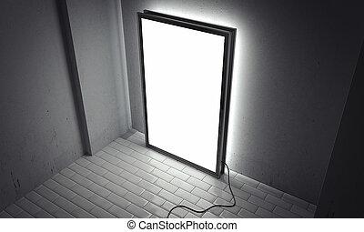 tom, lysande, inomhus, affischtavla, med, svart, ram, bredvid, grå, väggar, 3, framförande