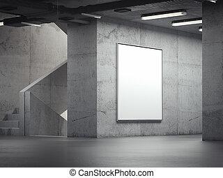 tom, lysande, inomhus, affischtavla, på, den, grå, väggar, 3, framförande