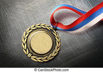 tom, medalj, på, stål, scratchy, bakgrund
