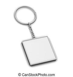 tom, metallisk, keychain, mockup