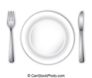 tom, middag tallrik