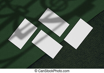 tom, negócio, duo, quatro, papel, verde, cartão, fundo, mockups, branca, retângulo
